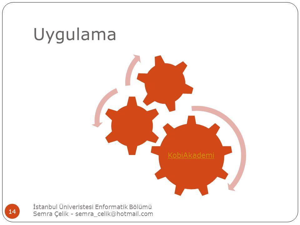 Uygulama KobiAkademi İstanbul Üniveristesi Enformatik Bölümü Semra Çelik - semra_celik@hotmail.com