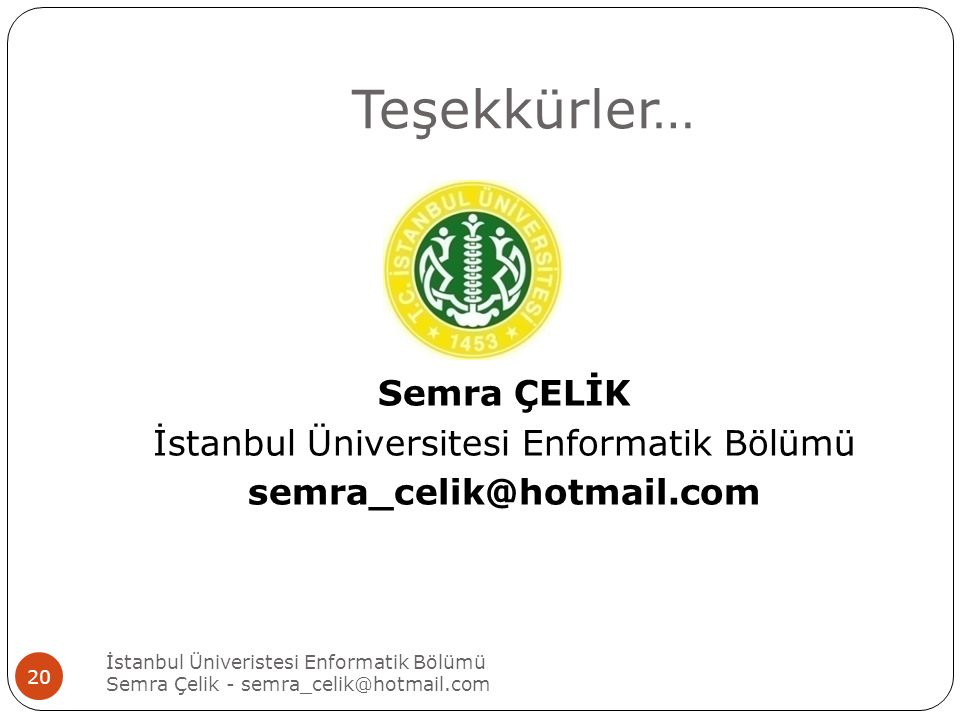 İstanbul Üniversitesi Enformatik Bölümü