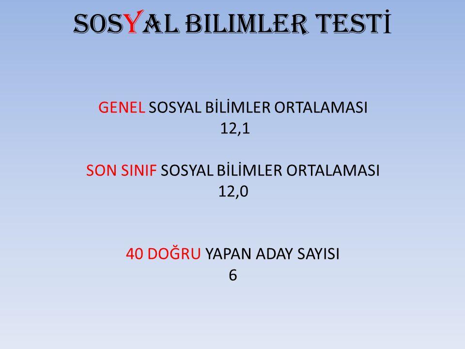 Sosyal bilimler TESTİ GENEL SOSYAL BİLİMLER ORTALAMASI 12,1