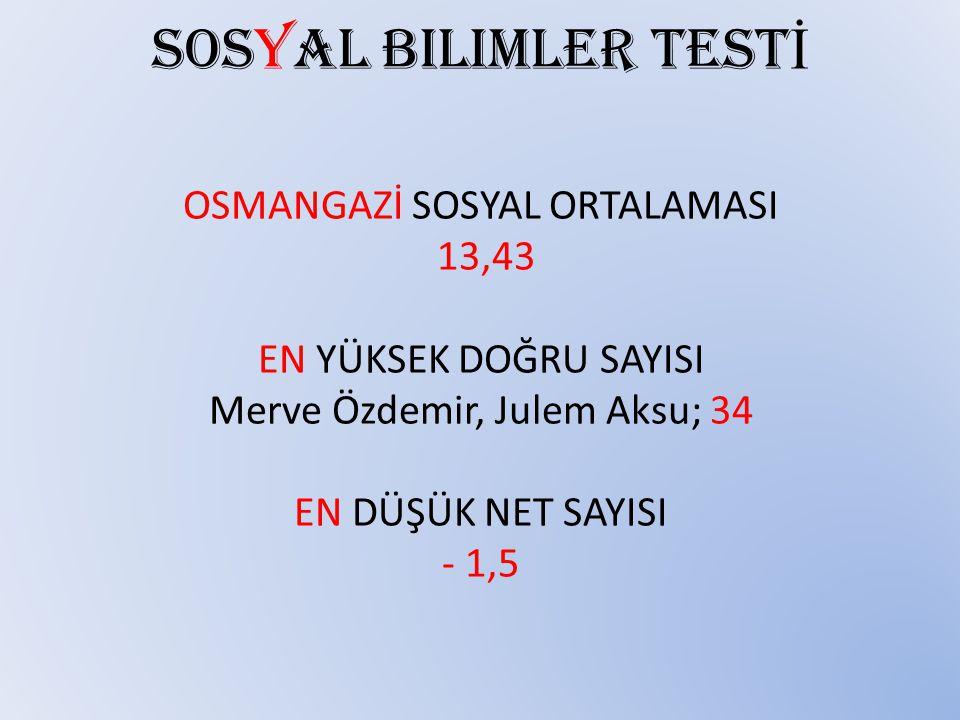 Sosyal bilimler TESTİ OSMANGAZİ SOSYAL ORTALAMASI 13,43