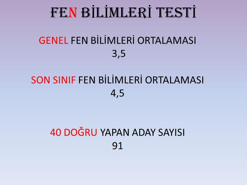 FEN BİLİMLERİ TESTİ GENEL FEN BİLİMLERİ ORTALAMASI 3,5