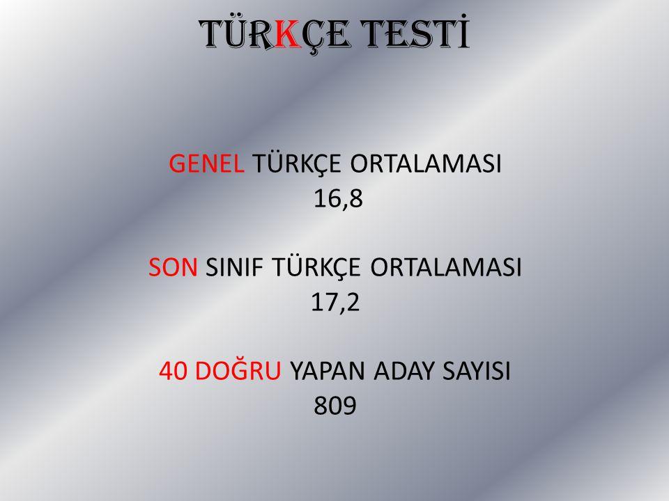 TÜRKÇE TESTİ GENEL TÜRKÇE ORTALAMASI 16,8 SON SINIF TÜRKÇE ORTALAMASI
