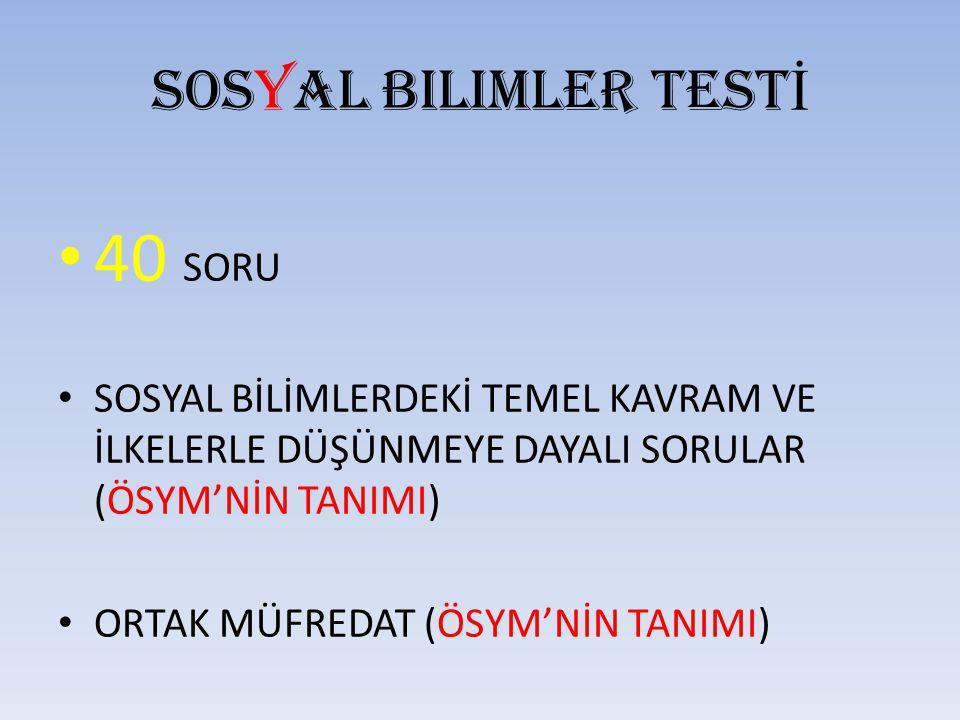 40 SORU Sosyal bilimler TESTİ