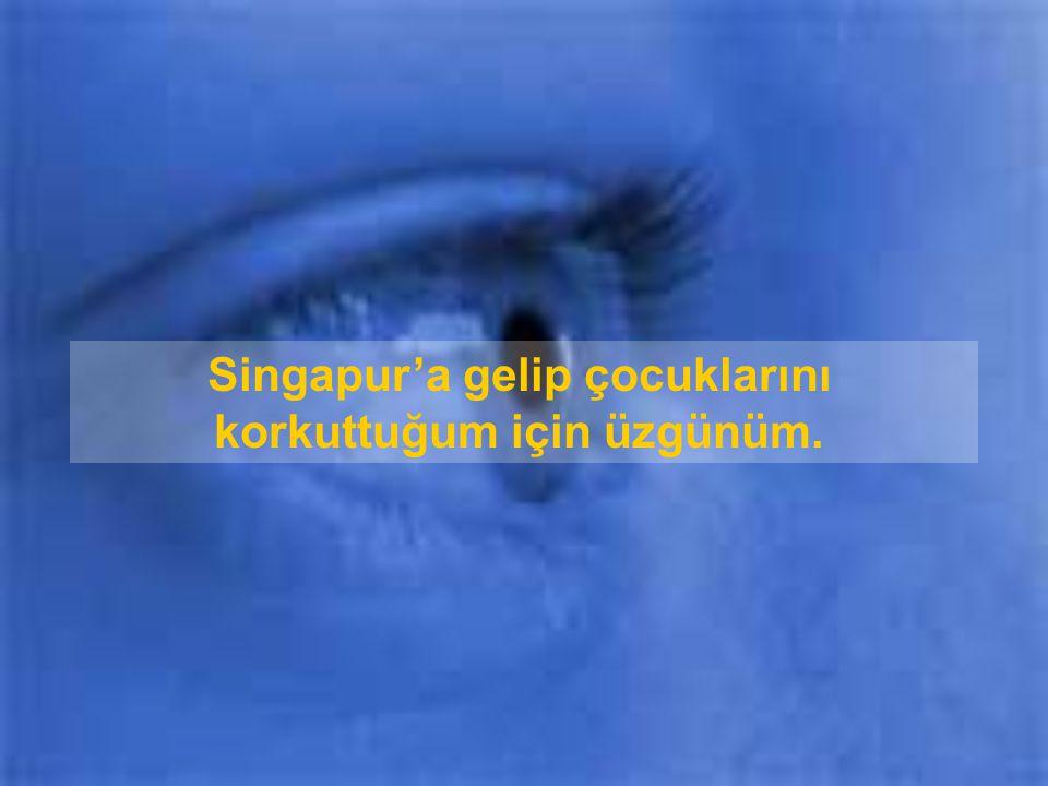 Singapur'a gelip çocuklarını korkuttuğum için üzgünüm.