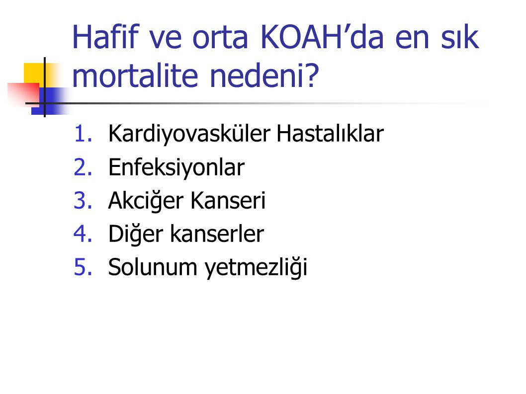 Hafif ve orta KOAH'da en sık mortalite nedeni