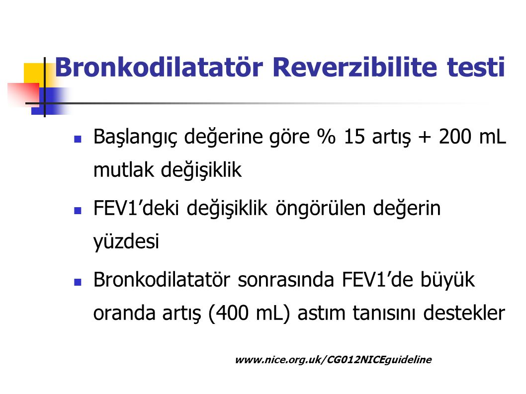 Bronkodilatatör Reverzibilite testi