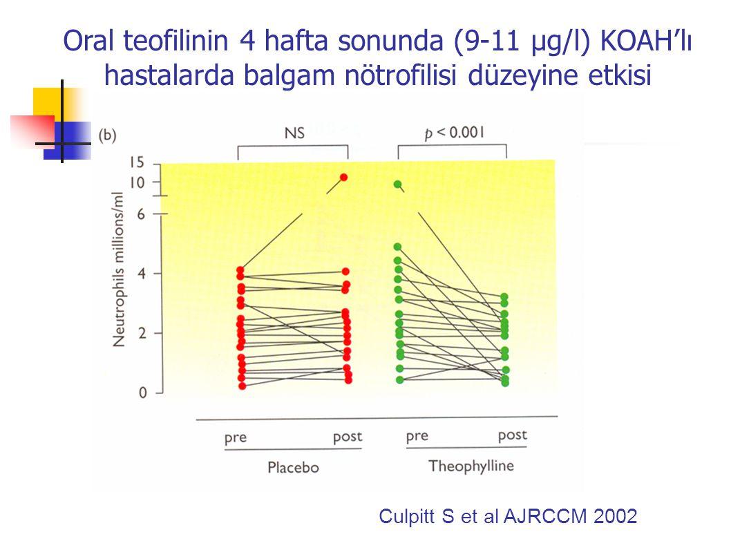 Oral teofilinin 4 hafta sonunda (9-11 µg/l) KOAH'lı hastalarda balgam nötrofilisi düzeyine etkisi