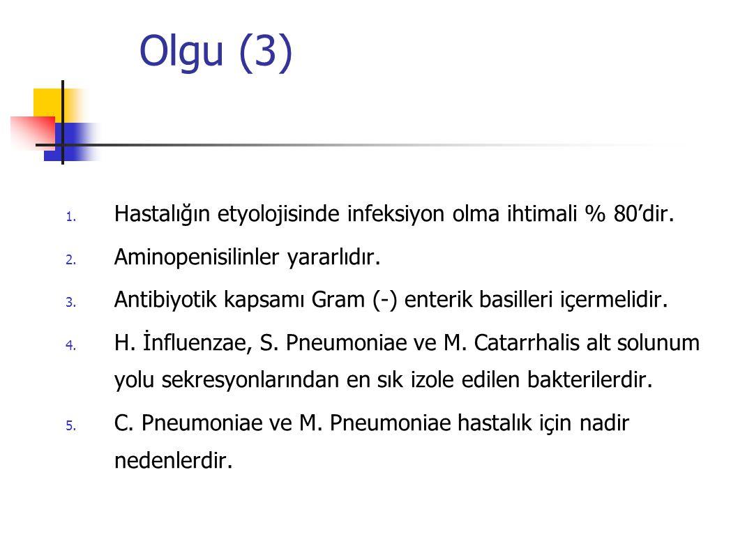Olgu (3) Hastalığın etyolojisinde infeksiyon olma ihtimali % 80'dir.