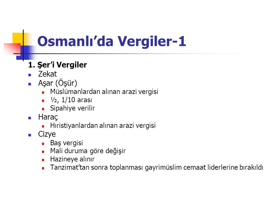 Osmanlı'da Vergiler-1 1. Şer'i Vergiler Zekat Aşar (Öşür) Haraç Cizye