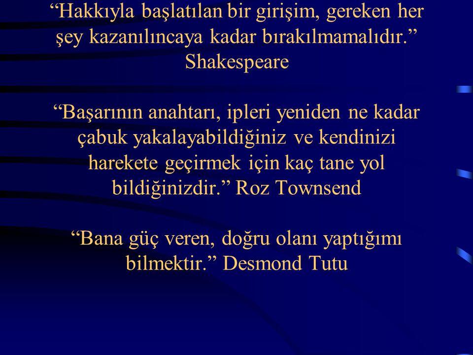 Hakkıyla başlatılan bir girişim, gereken her şey kazanılıncaya kadar bırakılmamalıdır. Shakespeare Başarının anahtarı, ipleri yeniden ne kadar çabuk yakalayabildiğiniz ve kendinizi harekete geçirmek için kaç tane yol bildiğinizdir. Roz Townsend Bana güç veren, doğru olanı yaptığımı bilmektir. Desmond Tutu