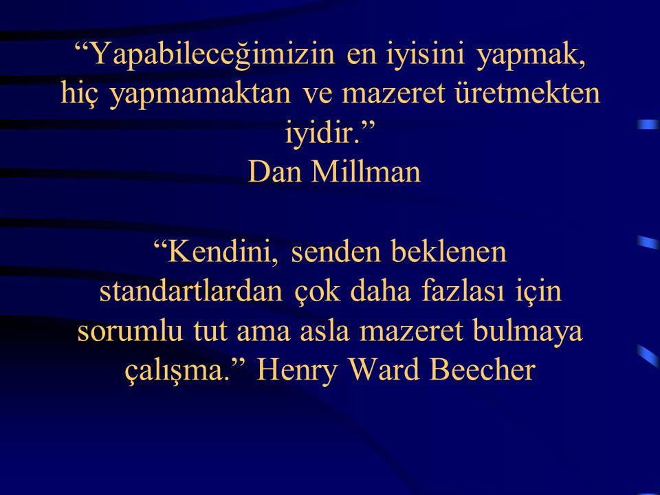 Yapabileceğimizin en iyisini yapmak, hiç yapmamaktan ve mazeret üretmekten iyidir. Dan Millman Kendini, senden beklenen standartlardan çok daha fazlası için sorumlu tut ama asla mazeret bulmaya çalışma. Henry Ward Beecher