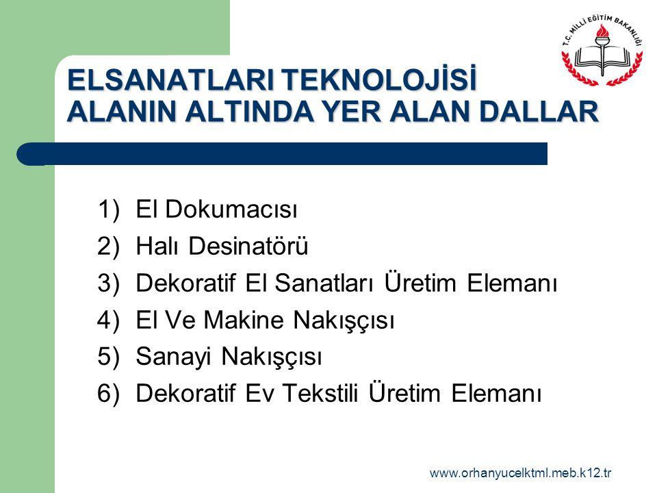 ELSANATLARI TEKNOLOJİSİ ALANIN ALTINDA YER ALAN DALLAR