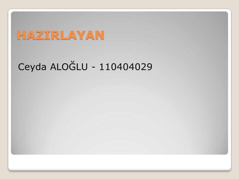 HAZIRLAYAN Ceyda ALOĞLU - 110404029
