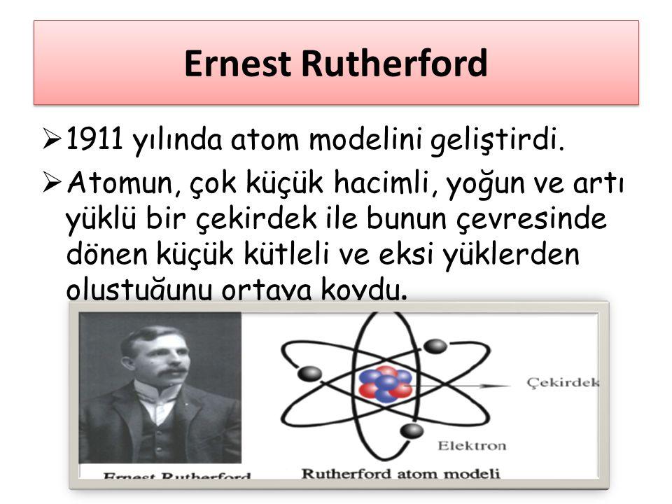 Ernest Rutherford 1911 yılında atom modelini geliştirdi.