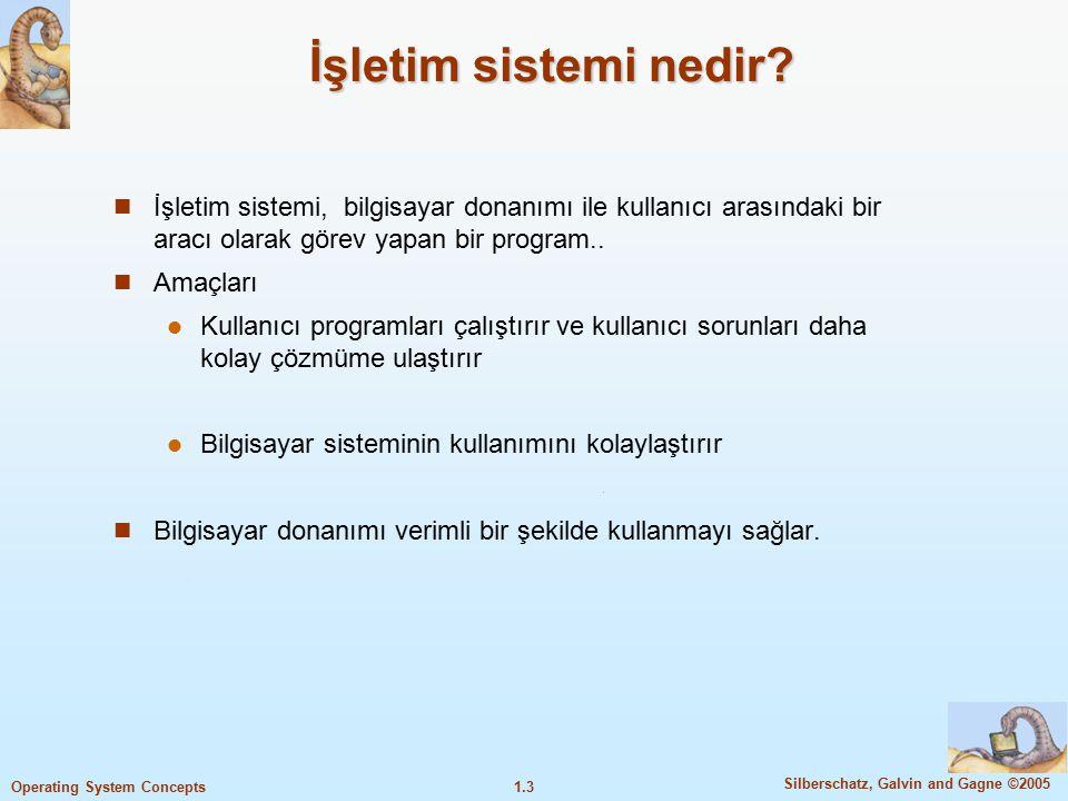 İşletim sistemi nedir İşletim sistemi, bilgisayar donanımı ile kullanıcı arasındaki bir aracı olarak görev yapan bir program..