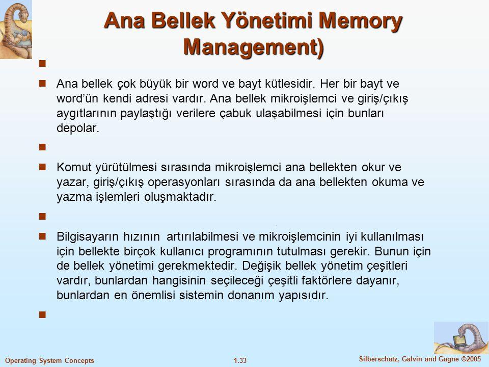 Ana Bellek Yönetimi Memory Management)