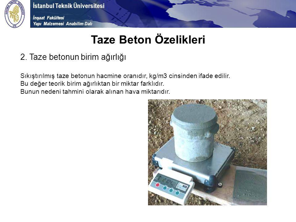 Taze Beton Özelikleri 2. Taze betonun birim ağırlığı