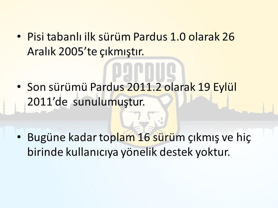 Pisi tabanlı ilk sürüm Pardus 1.0 olarak 26 Aralık 2005'te çıkmıştır.