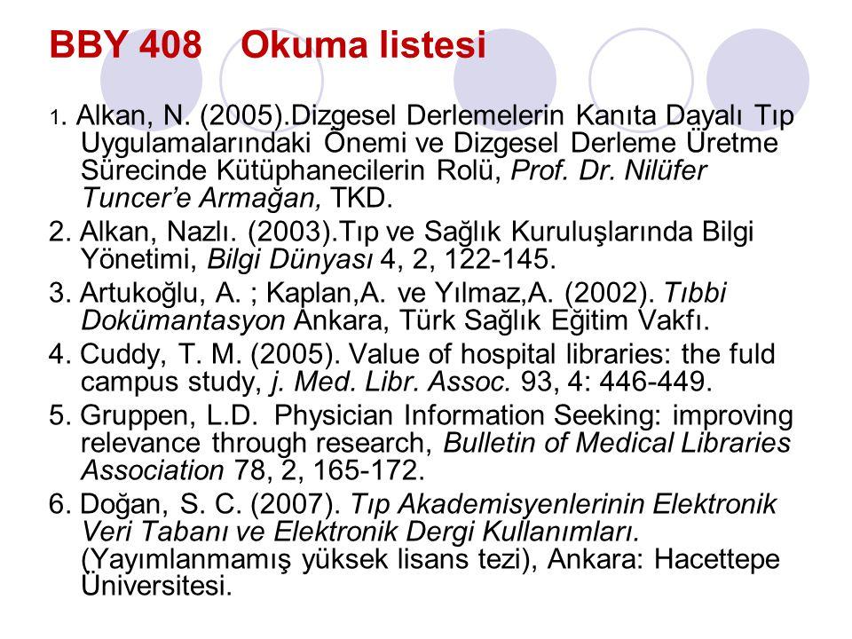 BBY 408 Okuma listesi