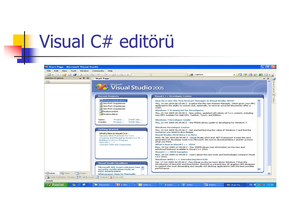 Visual C# editörü