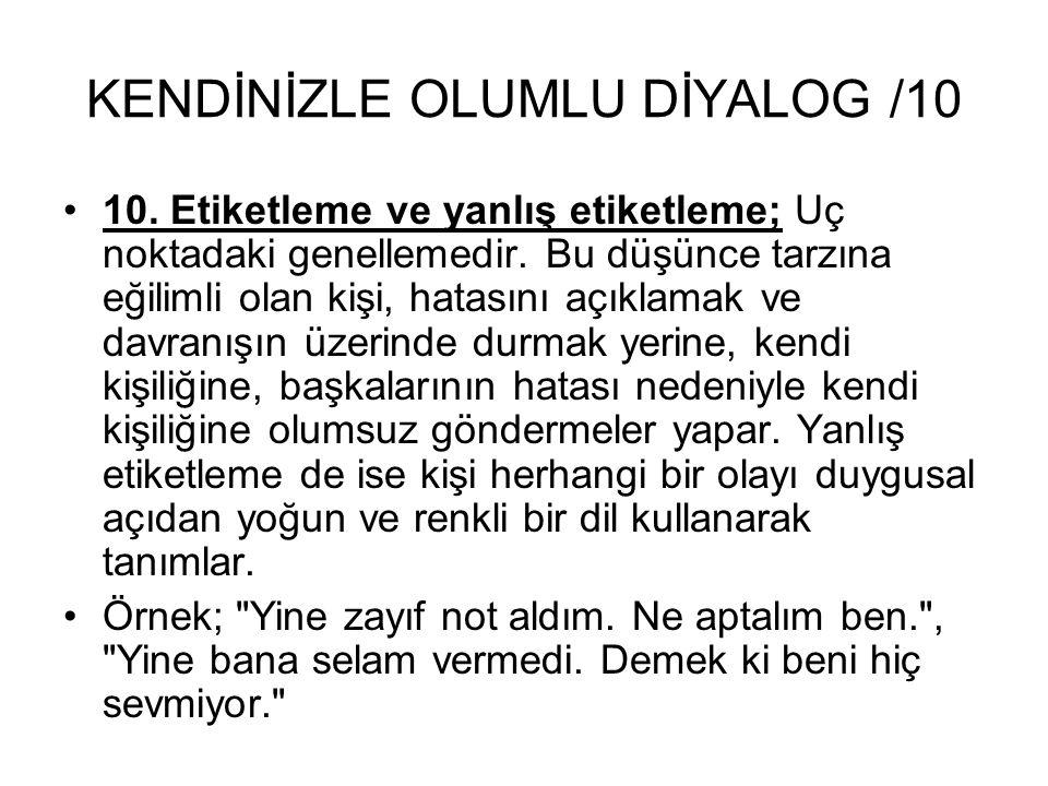 KENDİNİZLE OLUMLU DİYALOG /10