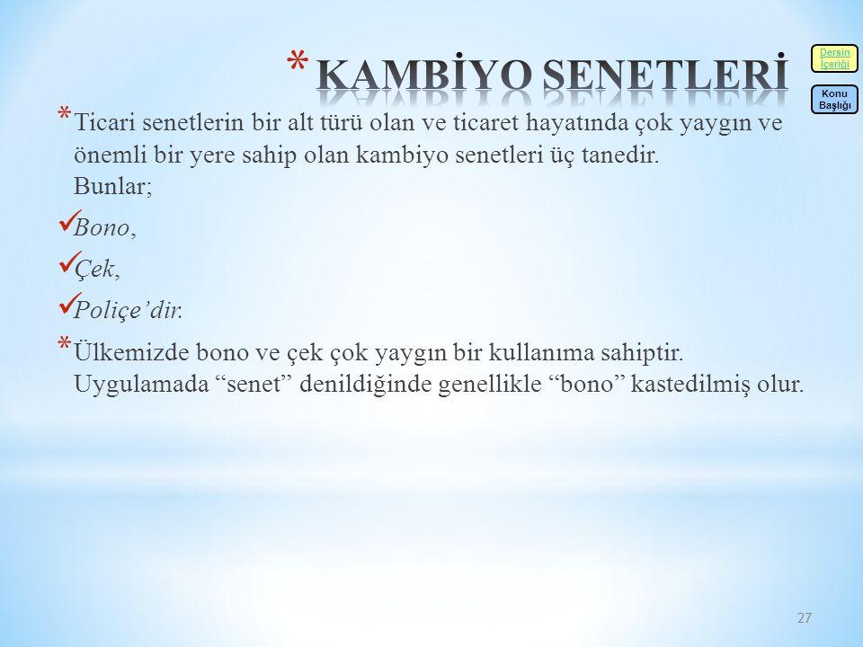 KAMBİYO SENETLERİ Dersin. İçeriği. Konu. Başlığı.