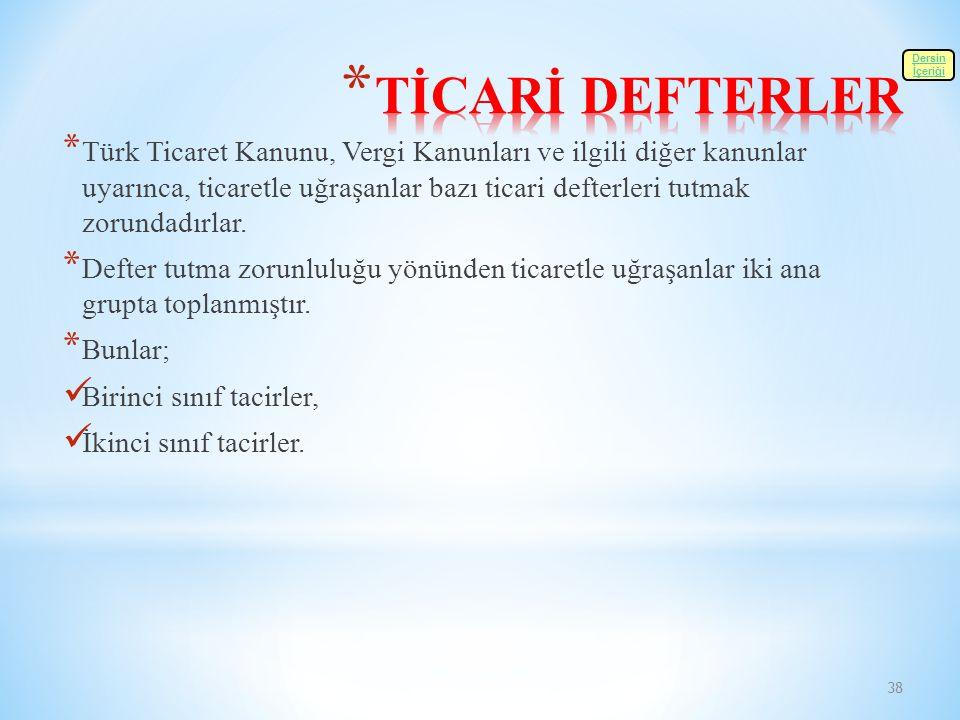 TİCARİ DEFTERLER Dersin. İçeriği.