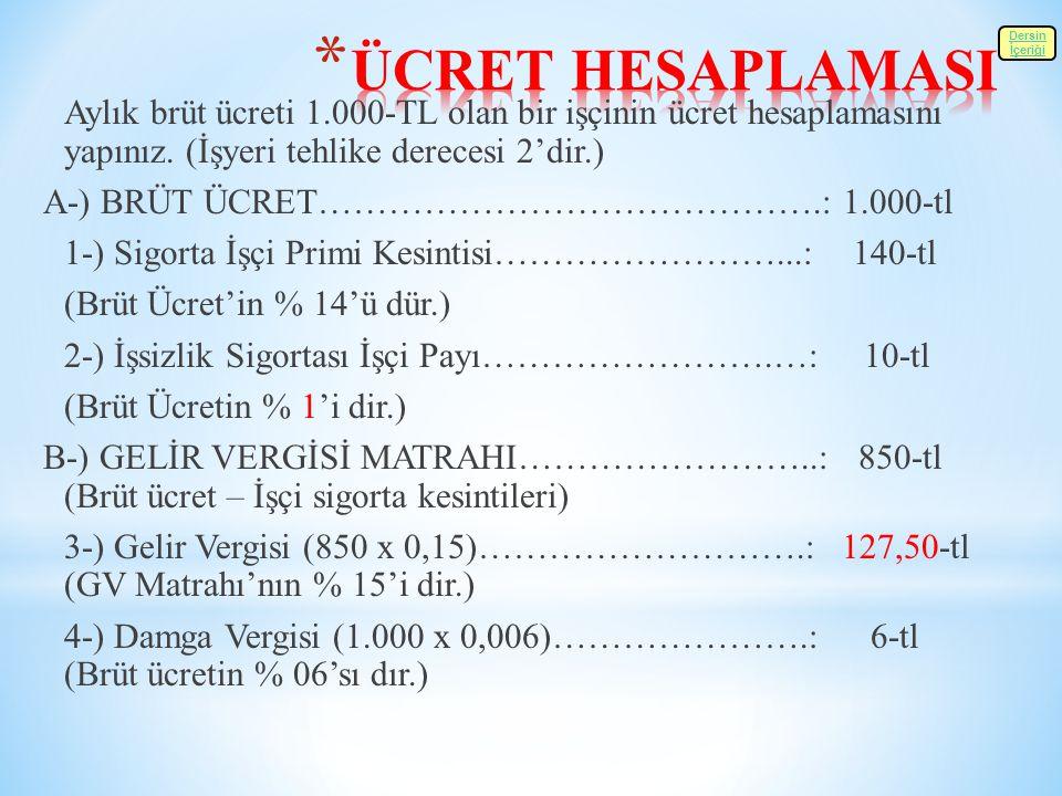 ÜCRET HESAPLAMASI A-) BRÜT ÜCRET…………………………………….: 1.000-tl