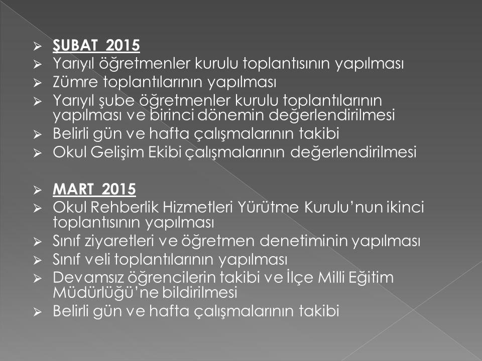 ŞUBAT 2015 Yarıyıl öğretmenler kurulu toplantısının yapılması. Zümre toplantılarının yapılması.