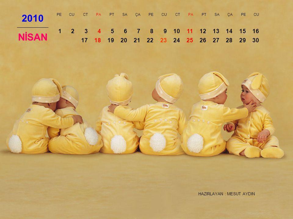 2010 PE. CU. CT. PA. PT. SA. ÇA. NİSAN. 1. 2. 3. 4. 5. 6. 7. 8. 9. 10. 11. 12. 13.