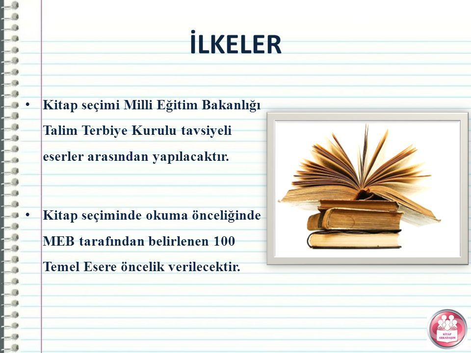 İLKELER Kitap seçimi Milli Eğitim Bakanlığı Talim Terbiye Kurulu tavsiyeli eserler arasından yapılacaktır.
