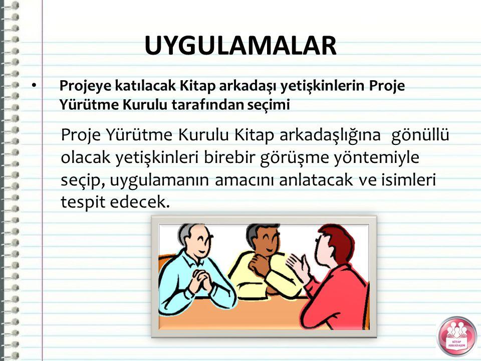 UYGULAMALAR Projeye katılacak Kitap arkadaşı yetişkinlerin Proje Yürütme Kurulu tarafından seçimi.