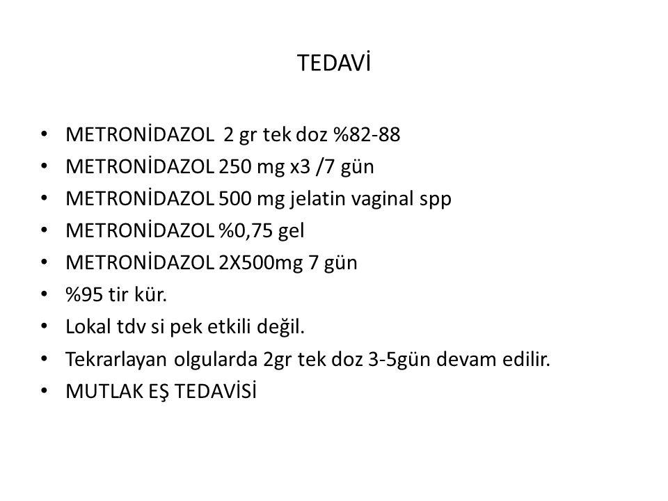 TEDAVİ METRONİDAZOL 2 gr tek doz %82-88 METRONİDAZOL 250 mg x3 /7 gün