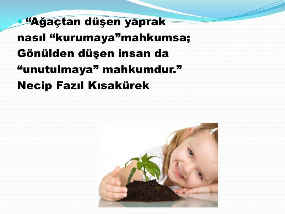 Ağaçtan düşen yaprak nasıl kurumaya mahkumsa; Gönülden düşen insan da. unutulmaya mahkumdur.