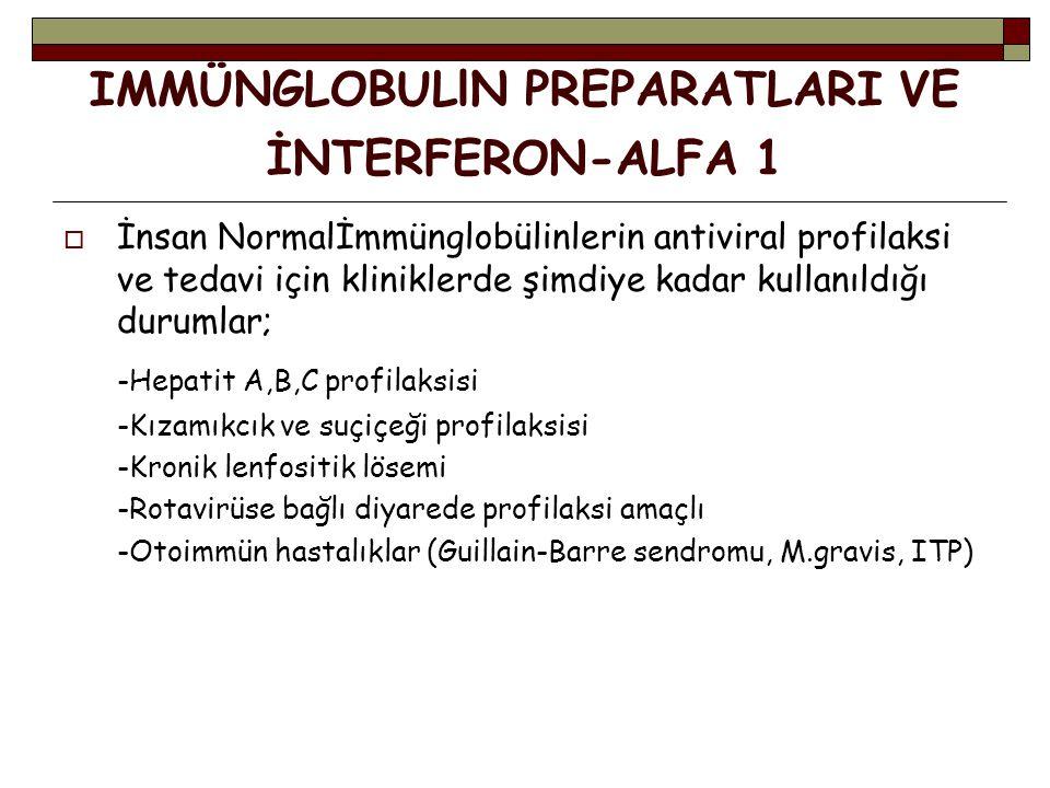IMMÜNGLOBULlN PREPARATLARI VE İNTERFERON-ALFA 1