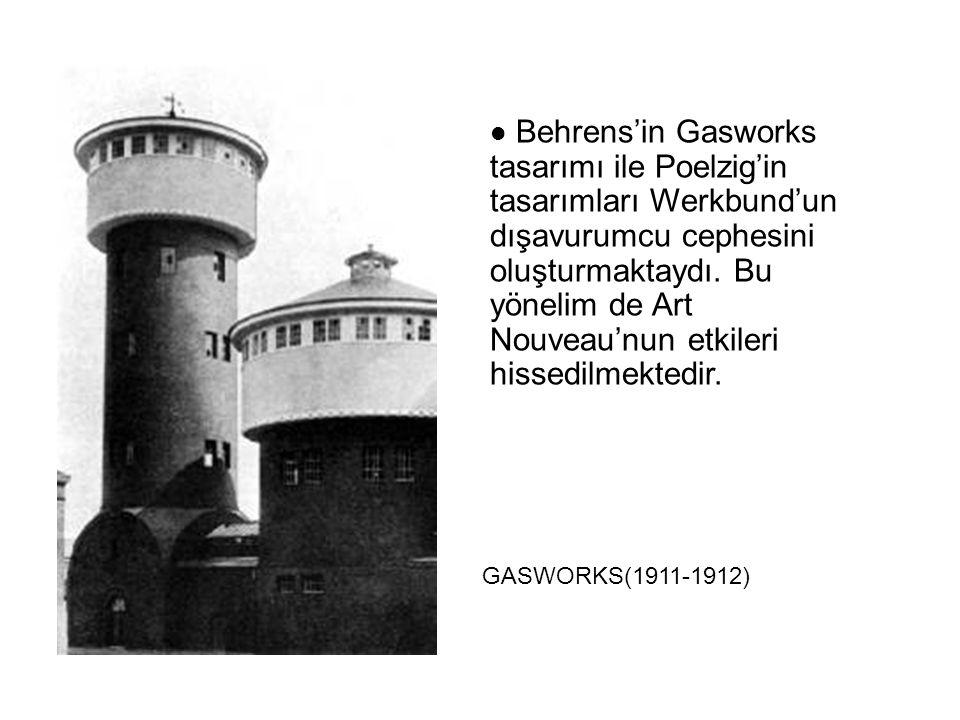 Behrens'in Gasworks tasarımı ile Poelzig'in tasarımları Werkbund'un dışavurumcu cephesini oluşturmaktaydı. Bu yönelim de Art Nouveau'nun etkileri hissedilmektedir.