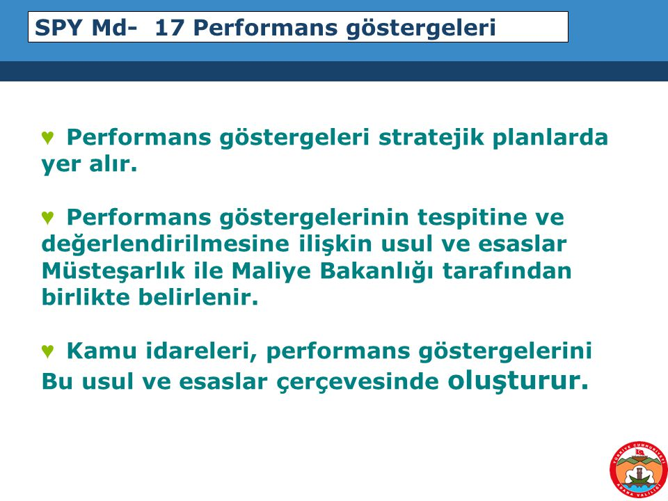 SPY Md- 17 Performans göstergeleri
