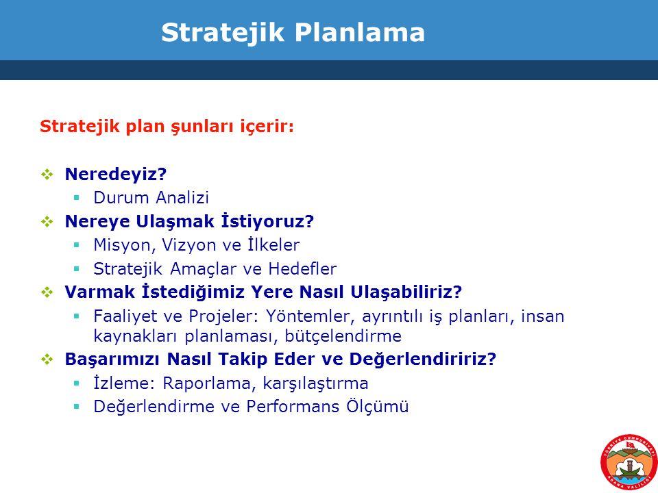 Stratejik Planlama Stratejik plan şunları içerir: Neredeyiz