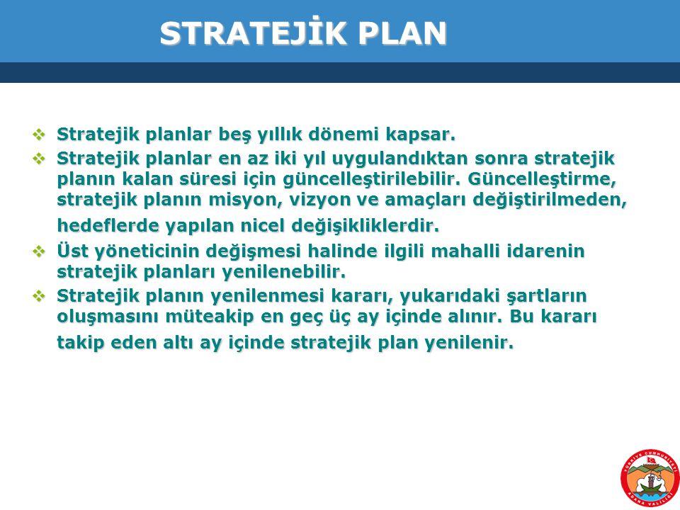 STRATEJİK PLAN Stratejik planlar beş yıllık dönemi kapsar.