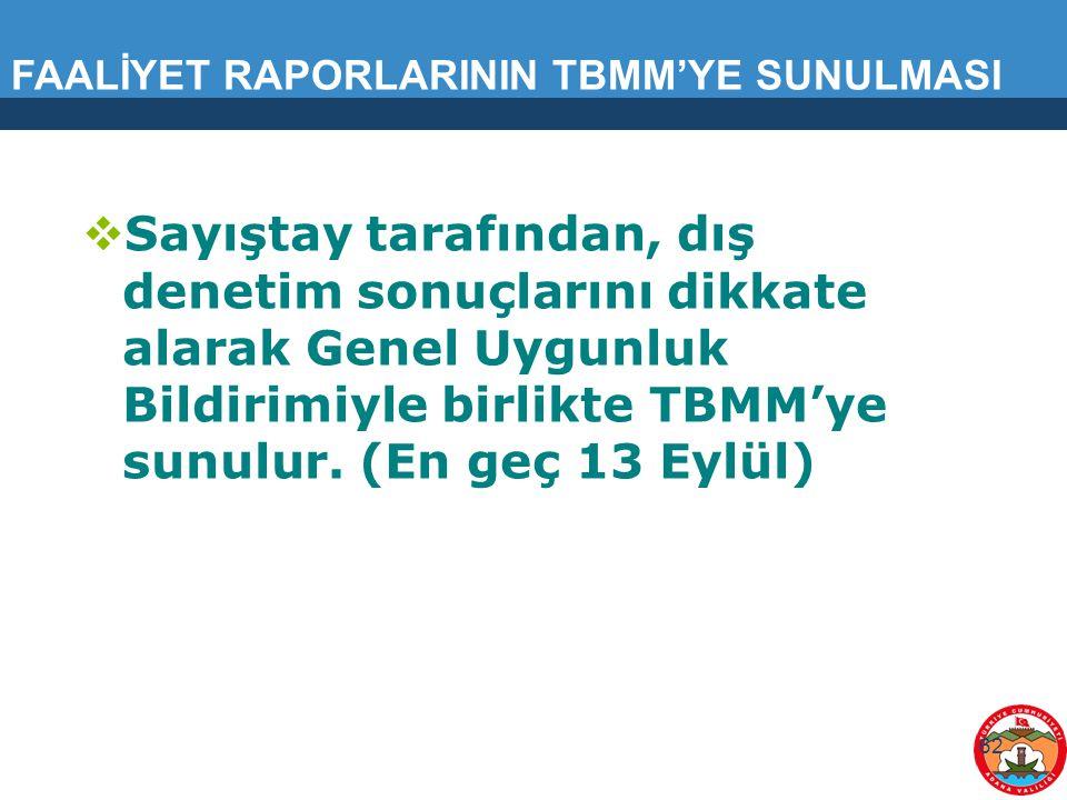 FAALİYET RAPORLARININ TBMM'YE SUNULMASI