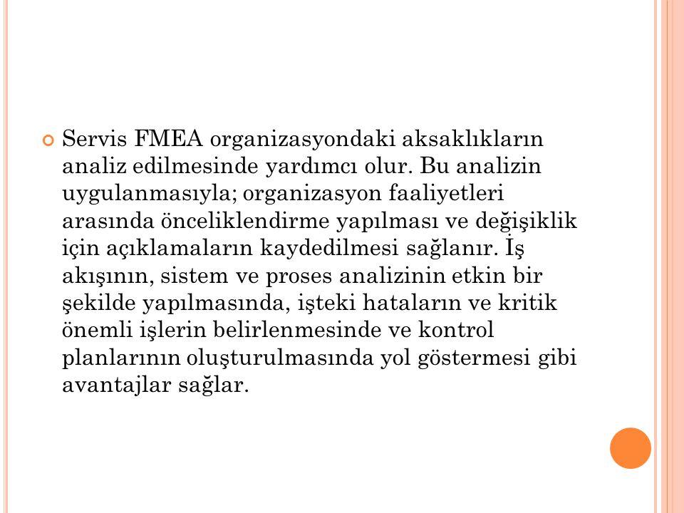 Servis FMEA organizasyondaki aksaklıkların analiz edilmesinde yardımcı olur.