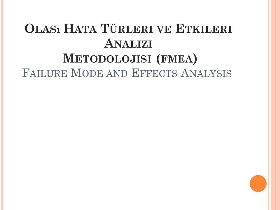 Olası Hata Türleri ve Etkileri Analizi Metodolojisi (fmea) Failure Mode and Effects Analysis