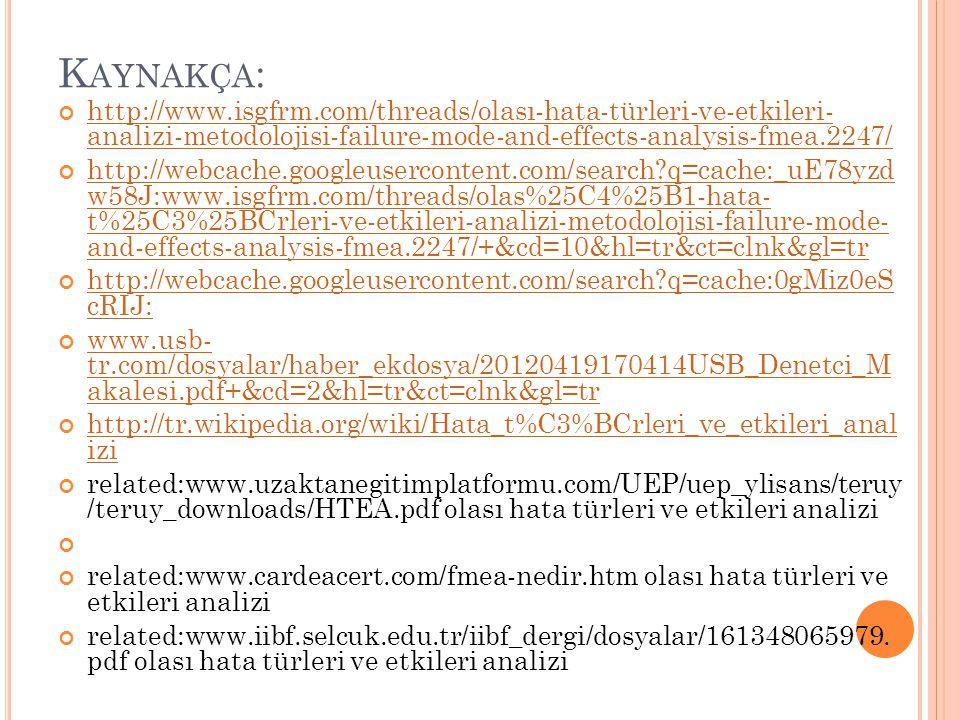 Kaynakça: http://www.isgfrm.com/threads/olası-hata-türleri-ve-etkileri- analizi-metodolojisi-failure-mode-and-effects-analysis-fmea.2247/