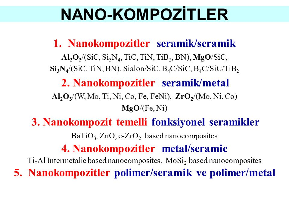 NANO-KOMPOZİTLER Nanokompozitler seramik/seramik