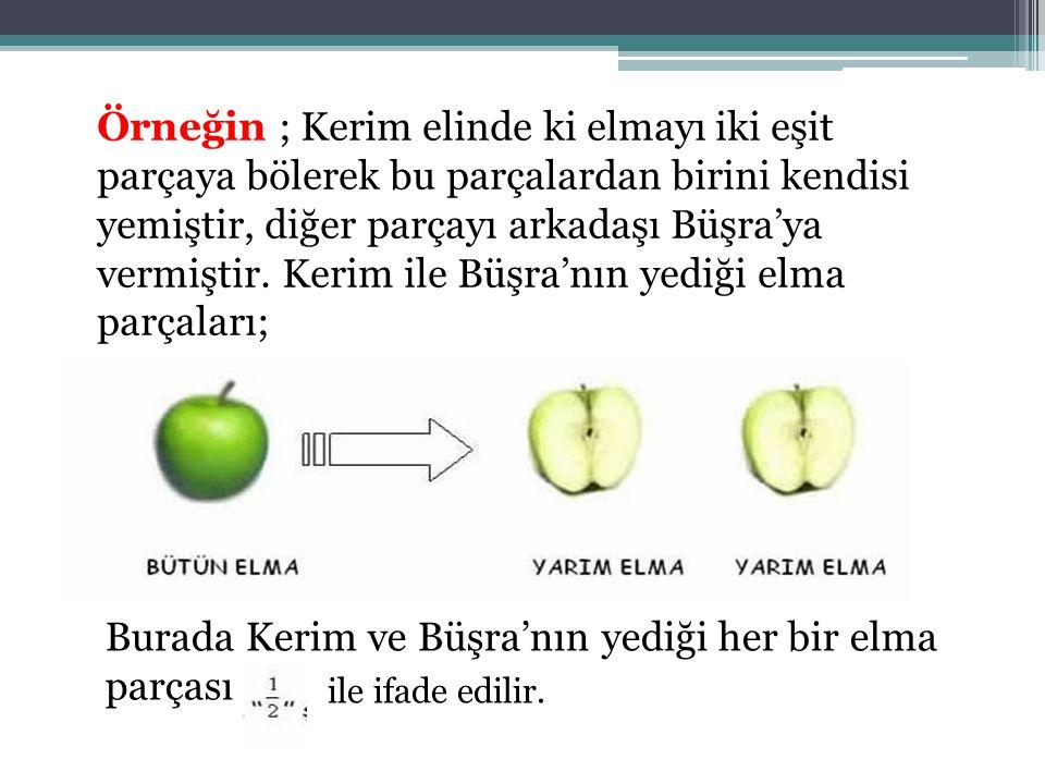 Burada Kerim ve Büşra'nın yediği her bir elma parçası
