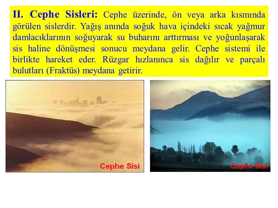 II. Cephe Sisleri: Cephe üzerinde, ön veya arka kısmında görülen sislerdir.