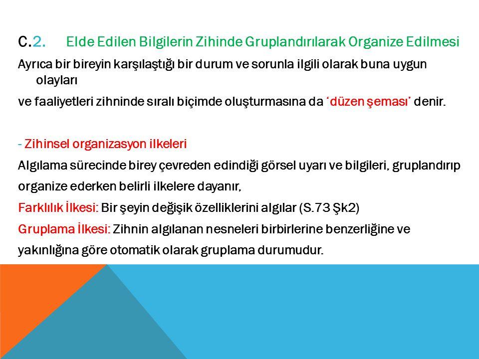C.2. Elde Edilen Bilgilerin Zihinde Gruplandırılarak Organize Edilmesi
