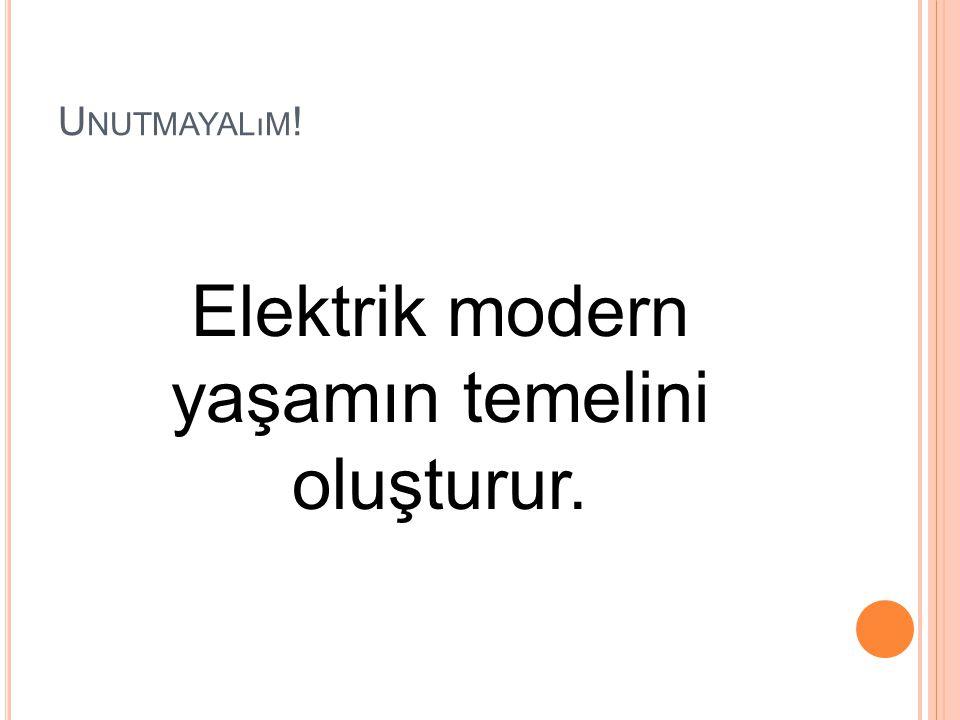 Elektrik modern yaşamın temelini oluşturur.