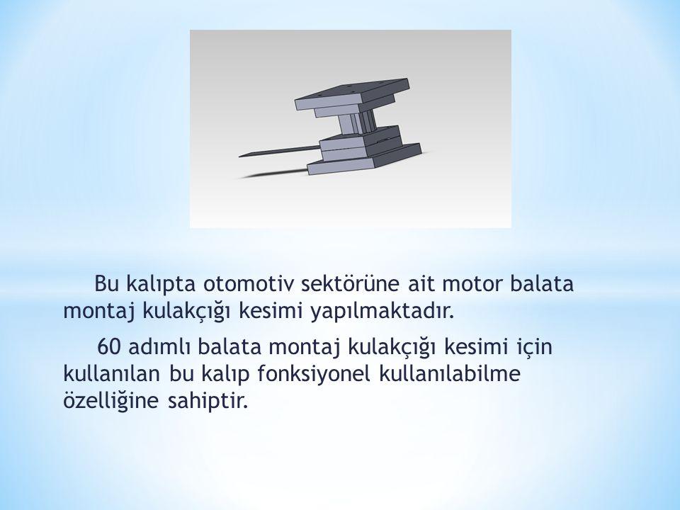 Bu kalıpta otomotiv sektörüne ait motor balata montaj kulakçığı kesimi yapılmaktadır.