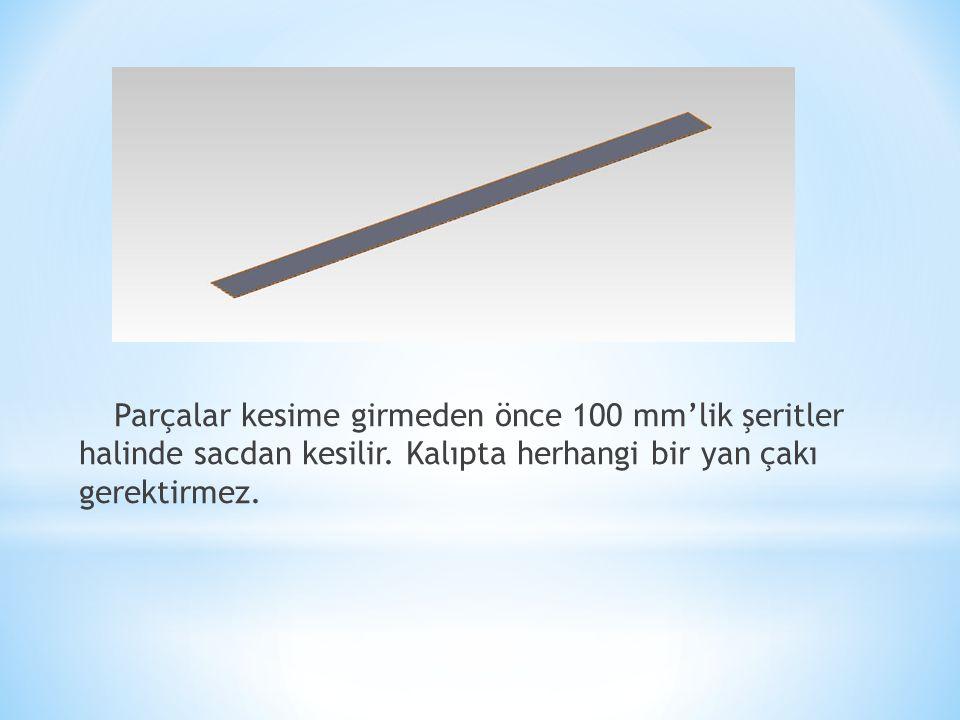 Parçalar kesime girmeden önce 100 mm'lik şeritler halinde sacdan kesilir.